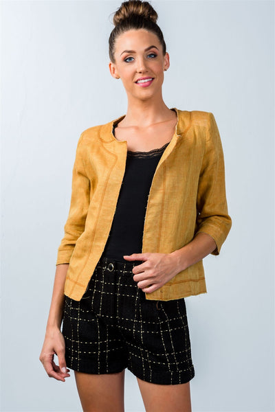 mustard 3/4 sleeve open-front jacket
