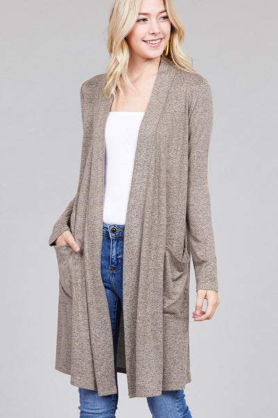 long sleeve open front w/pocket brushed hacci cardigan