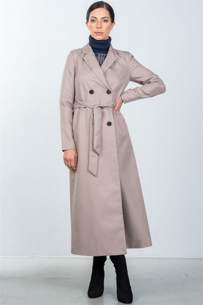 taupe double breasted belted long line coat