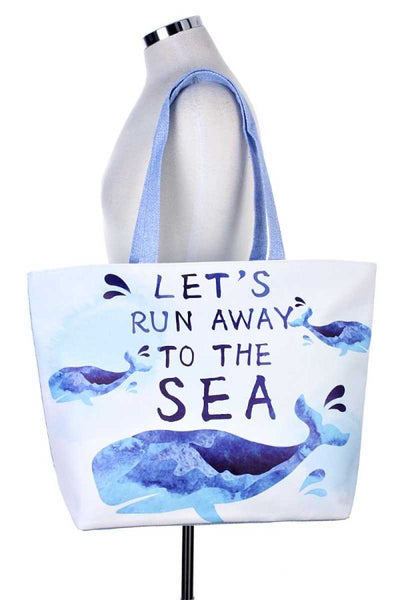 let`s run away to the sea whale tote bag