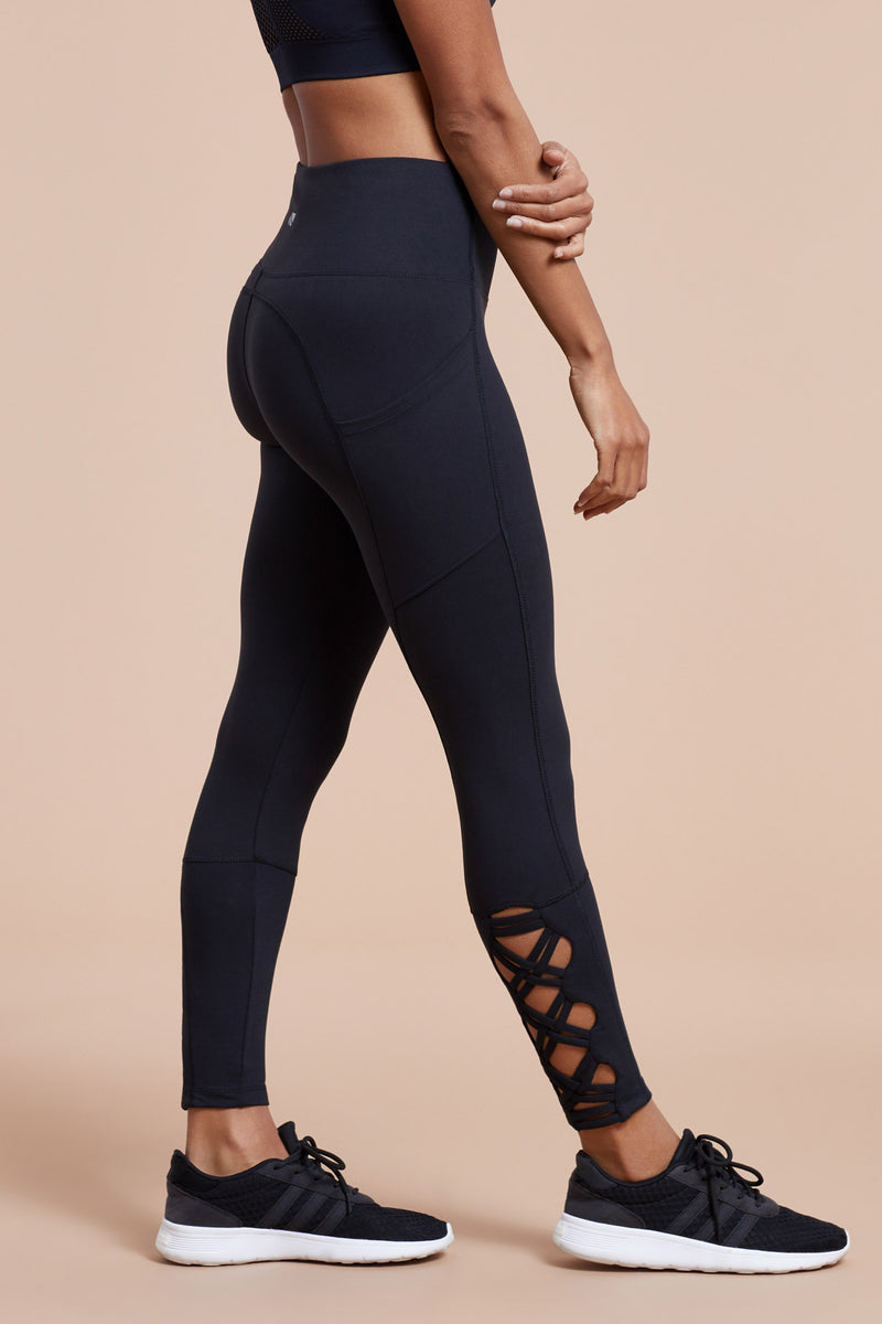 Tummy Control Side Pocket Laced Ankle Legging