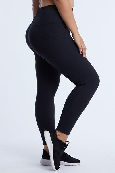 Tierra Tummy Control High Rise Side Pocket Ankle Legging (Plus Size)