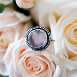 Rose Quartz sterling silver statement ring One of a Kind