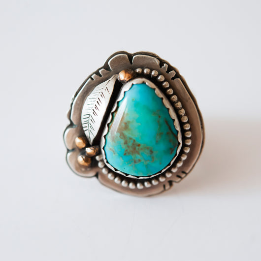 Natural Turquoise & Feather Ring