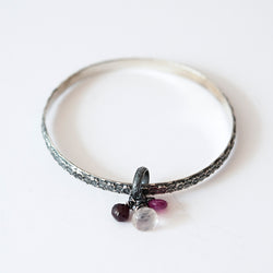 Sterling Silver with Ruby, Rose Quartz and Garnet Bracelet