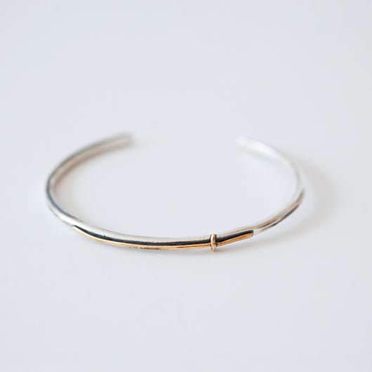 Sterling Silver cuff bracelet with 14k gold filled cross