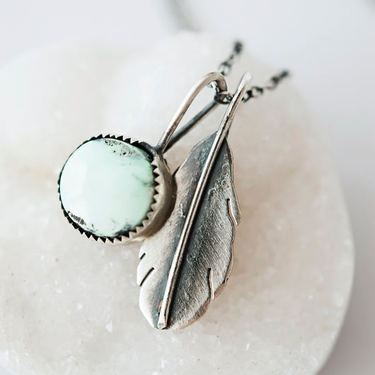 Turquoise & Sterling Silver Feather Necklace