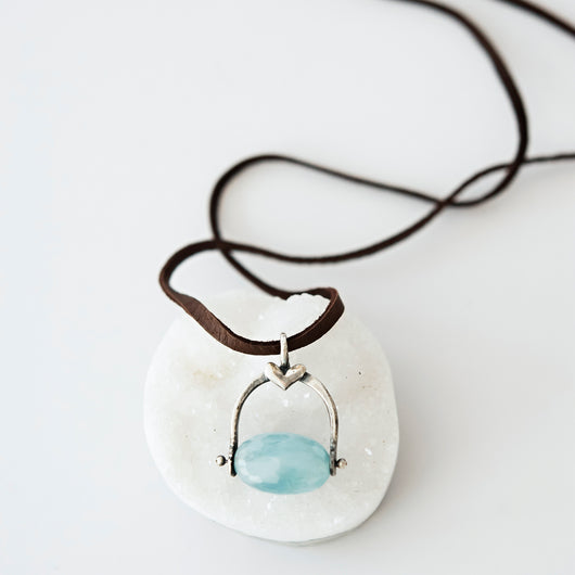 Sterling Silver and Aquamarine Pendant on leather necklace