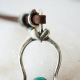 Natural Turquoise pendant on leather