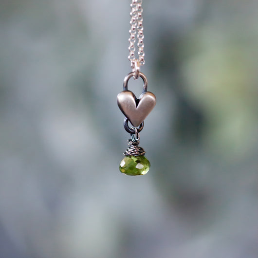 Peridot Birthstone drop heart necklace