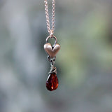 Ruby Birthstone drop heart necklace
