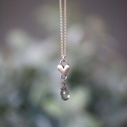 Aquamarine Birthstone drop heart necklace