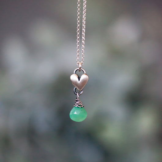 Chrysoprase Birthstone drop heart necklace