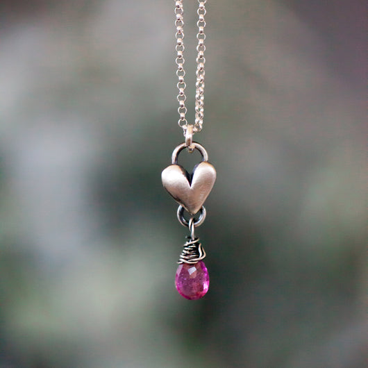 Pink Tourmaline Birthstone drop heart necklace