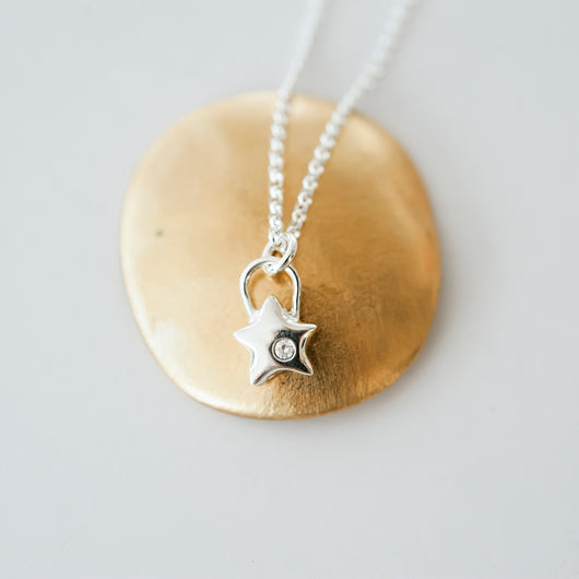 Sterling Silver and CZ Star Charm Necklace