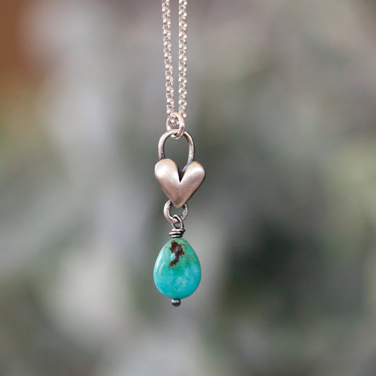 Turquoise Birthstone drop heart necklace