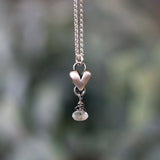 White Topaz Birthstone drop heart necklace