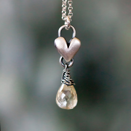 Citrine Birthstone drop heart necklace