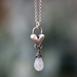 Moonstone Birthstone drop heart necklace
