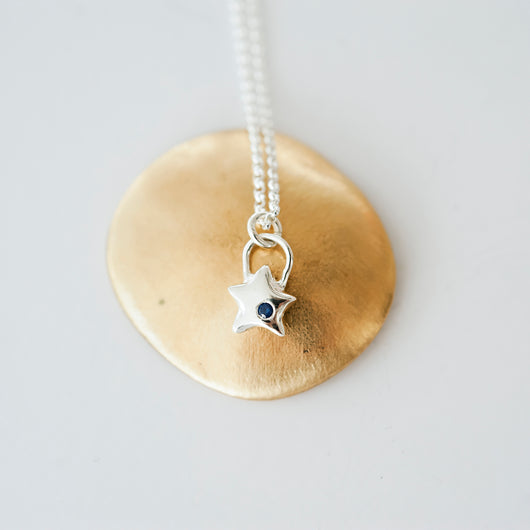Sterling Silver and Sapphire Star Charm Necklace