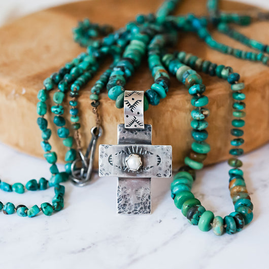 Sterling Silver Cross pendant on natural Turquoise necklace
