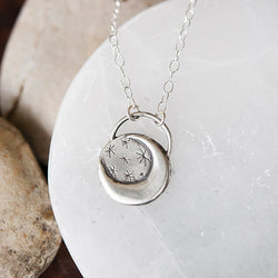 Sterling Silver Moon Necklace with Gemstone Option