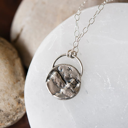 Sterling Silver Mountain Necklace with Gemstone Option
