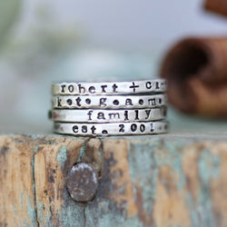 Silver Stamped Stacking Rings