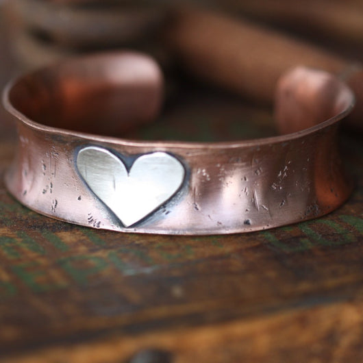 Copper wide extra thick Cuff bracelet with sterling silver Heart