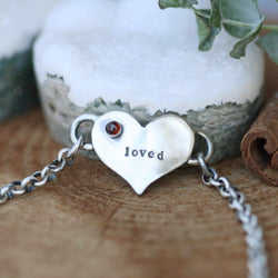 You Are Loved Garnet Birthstone Bracelet