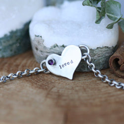 You Are Loved Amethyst Birthstone Bracelet