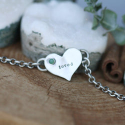You Are Loved Emerald Birthstone Bracelet