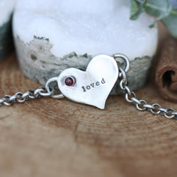 LOVED Sterling silver Ruby July Birthstone Bracelet