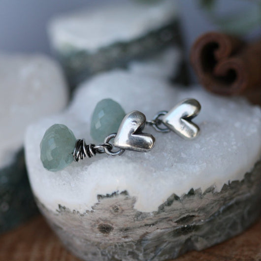 AQUAMARINE drop sterling silver heart earrings