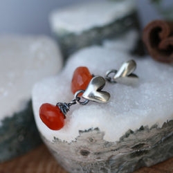 Carnelian drop sterling silver heart earrings