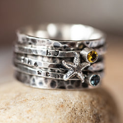 Starfish and stone spinner ring hand stamped Birthstone sterling silver ring