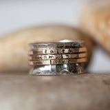 Gold handstamped 3 spinner Ring