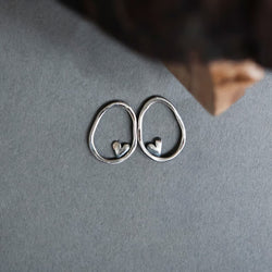 Sterling Silver Oval Earrings