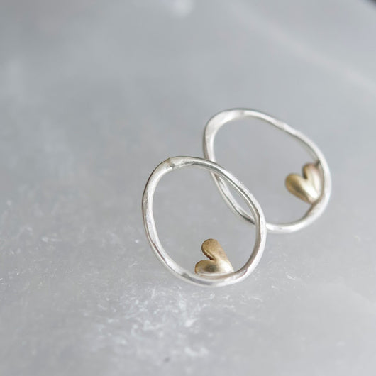 Sterling Silver Organic Oval Earrings with Bronze Hearts