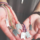 Follow Your Arrow hand stamped sterling silver silk inspirational personal talisman necklace