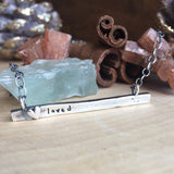 Sterling silver hand molded heart Personalized bar necklace