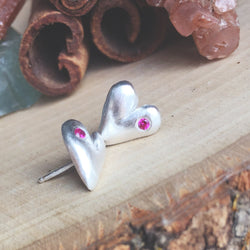 Sterling silver hand sculpted earrings with choice of little gemstones