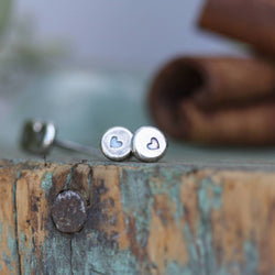 Sterling Silver simple Heart stud earrings with sterling posts hand stamped