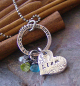 Vintage Romance stamped ring..hand stamped personalized fine silver and gem stone necklace