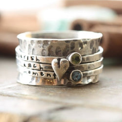 Silver Stamped Heart & Stone Spinner Ring