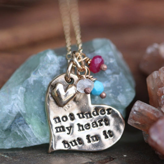 Adoption Heart with Birthstones Necklace