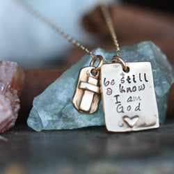 Be still... Fine Bronze and gold filled chain hand stamped faith necklace... ready to ship