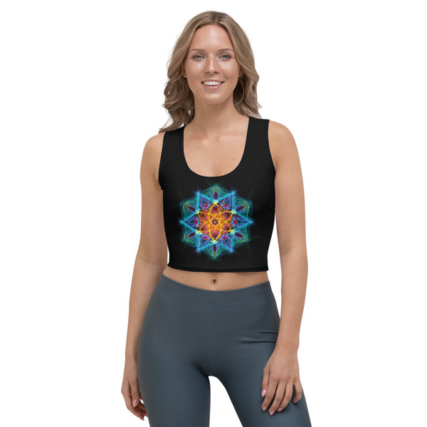 Women's Stretch Crop Top Mandala : Healing Light From Within