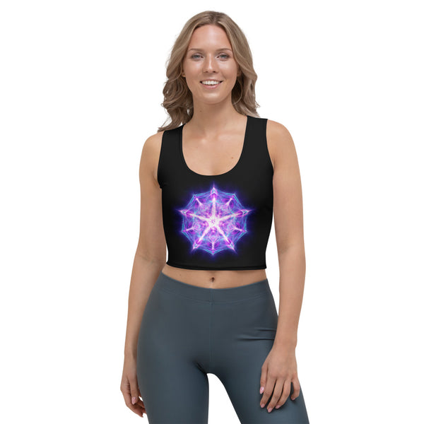 Women's Stretch Crop Top Mandala :Accepting We Are Worthy And Deserving Of Love
