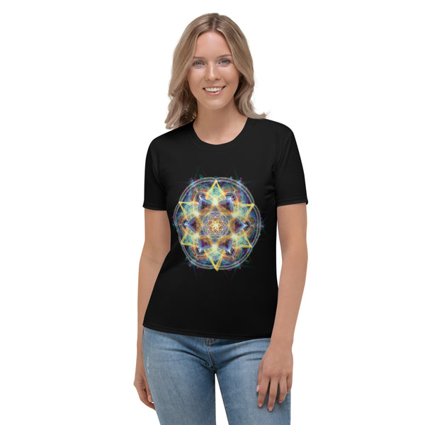 Women's Stretch T-shirt Mandala : Universal Consciousness